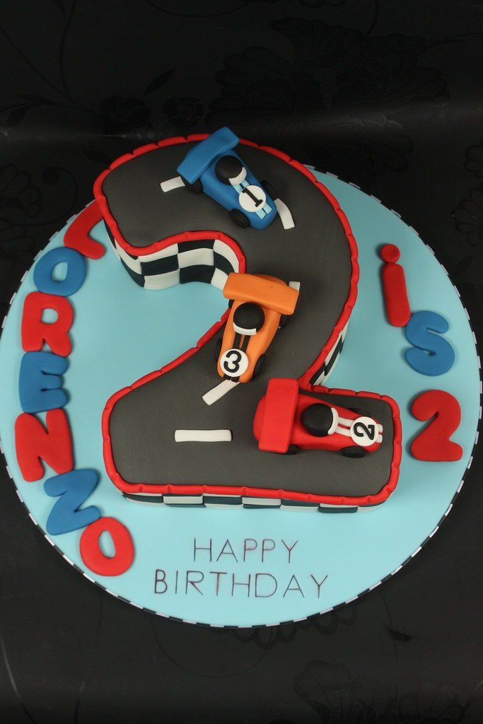 No 2 Racing Car Cake Number Two Shaped Cake Decorated In A Flickr