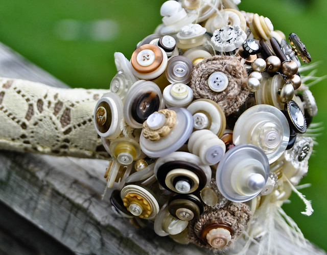 my bridal bouquet that i made from vintage buttons and burlap flickr