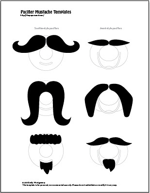 mustache print out template - mustache pacifier free to download