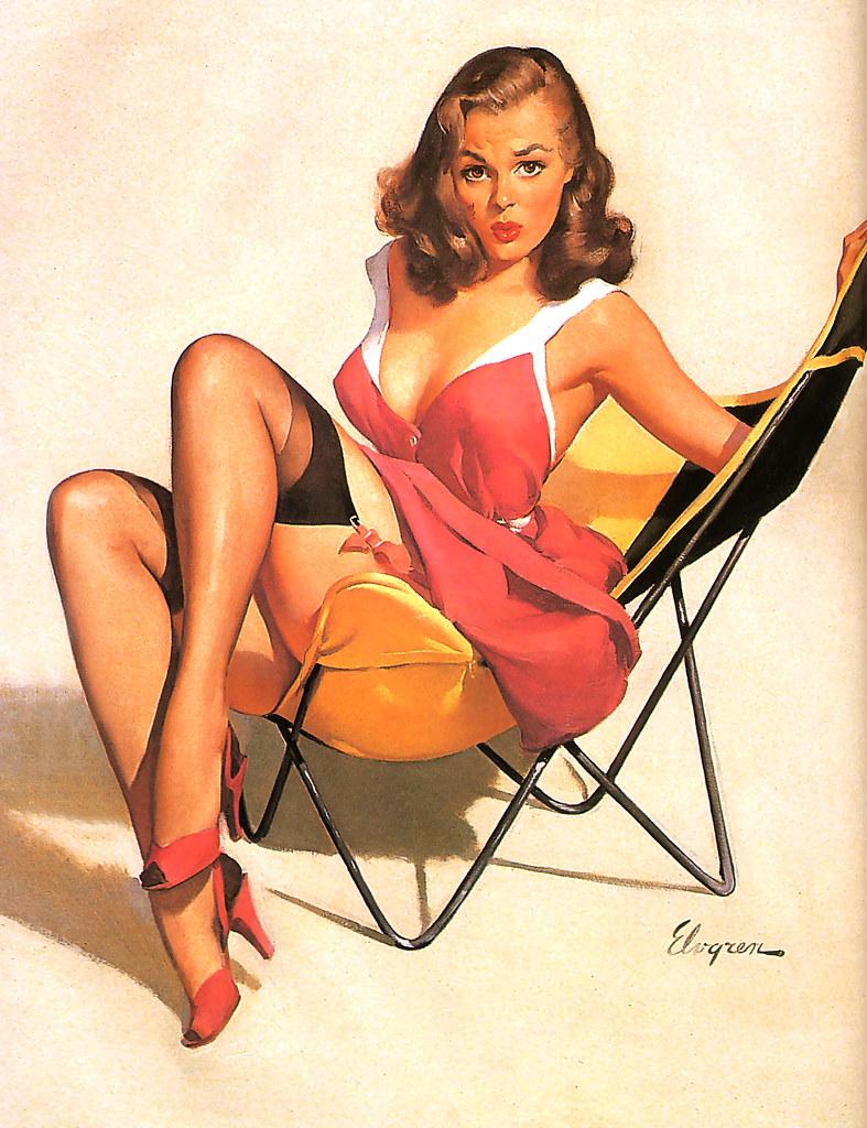 1960 Butterfly Chair Artist Gil Elvgren James