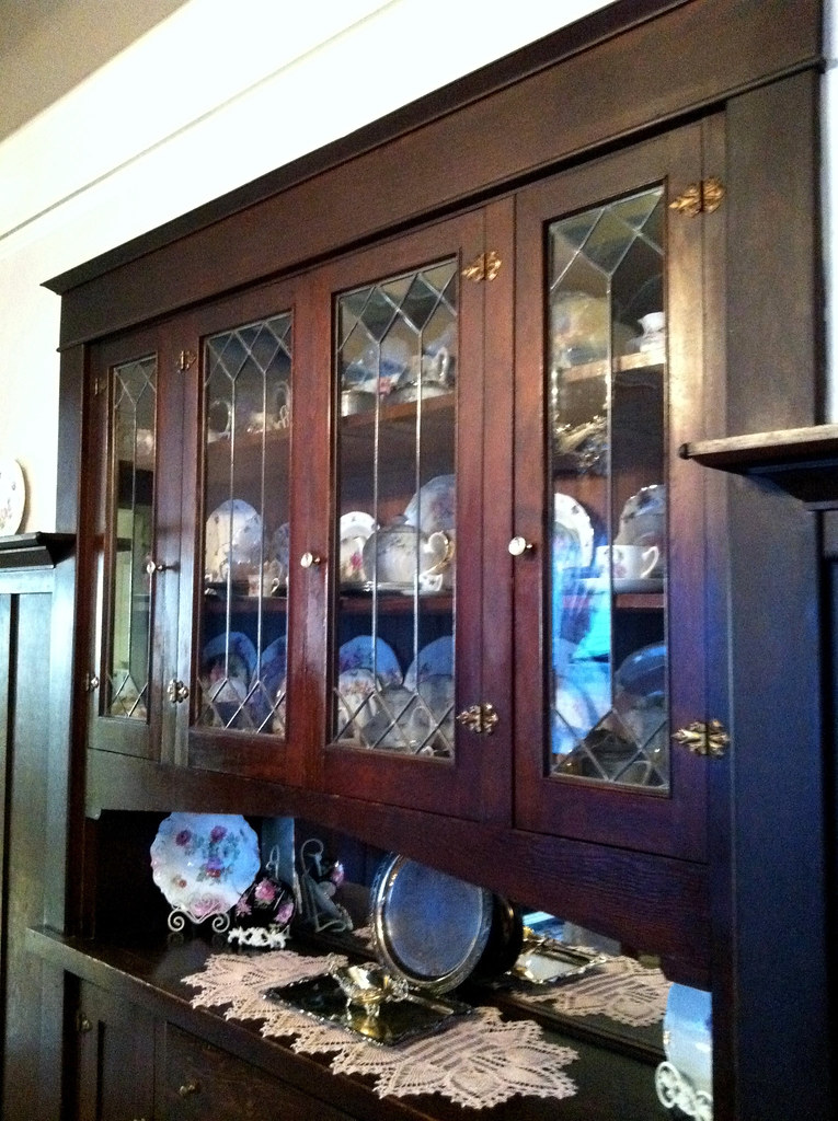 Built In China Cabinet Dining Room AFTER With Dishes
