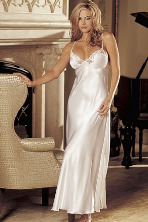 Charmeuse Long Nightgown Beautiful White Charmeuse And