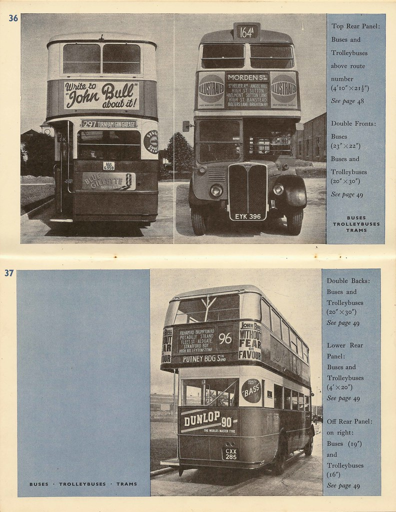London Transport Advertising Rate Cards 1939 Bus Exteri