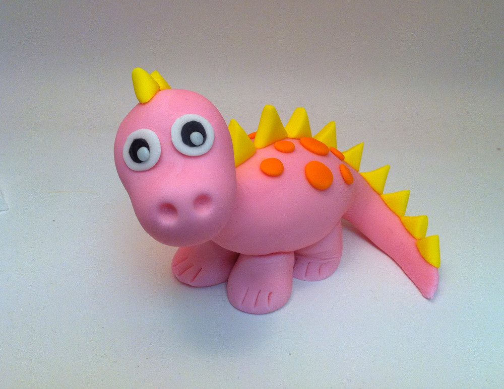 Pink Dinosaur Very Cute For Baby Cake Decoration Or Any