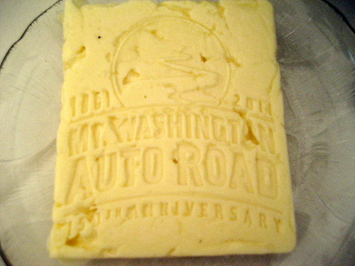 Butter at the tables with our logo | by Mt.Washington Auto Road