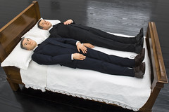 Maurizio Cattelan, We, fiberglass structure, polyurethane rubber, wood, clothes, 58.28 x 31.1 in., 2010