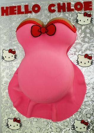 ... Pregnant Belly Baby Shower Cake In Hot Pink With Hello Kitty | By  Jeanne AJu0027s Moonlight
