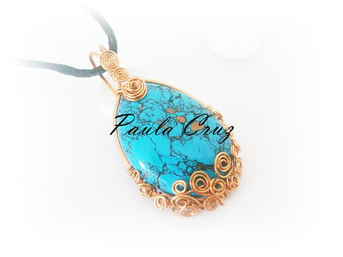 Polymer Clay and Copper wire Wrapped (Faux Turquoise) Necklace | by Paula Cruz - Polymer Clay Artist