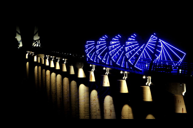 high trestle trail bridge   night