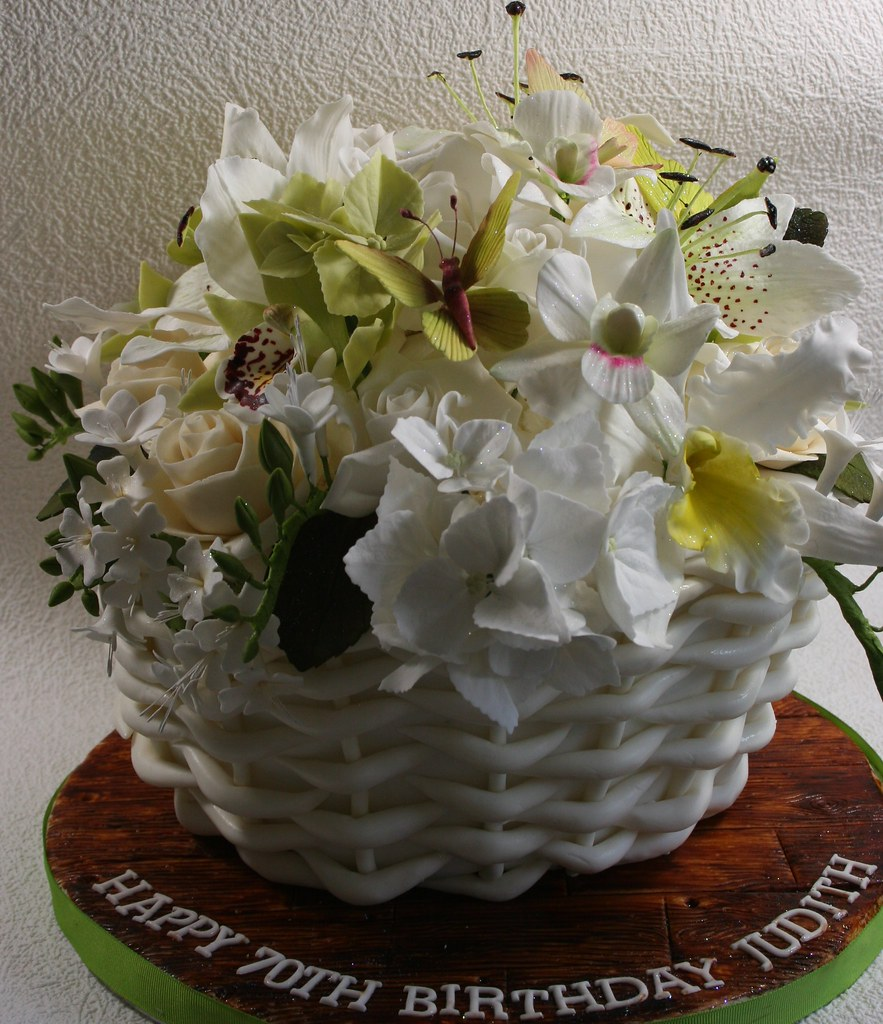 Basket Of Flowers Cake Cookies And Cream Cake Made For A L Flickr