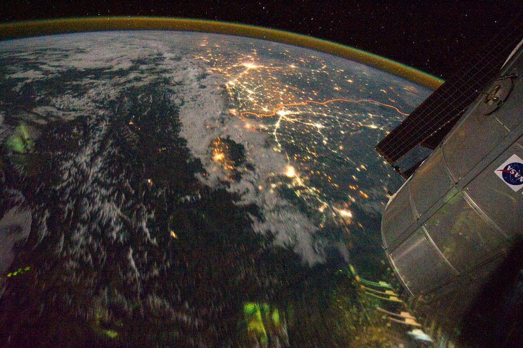 Night View of India-Pakistan Borderlands (NASA, Internatio ... Indo Gangetic Plain Map