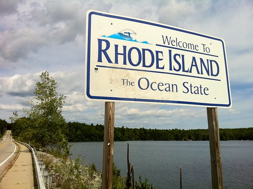 "Pachaug Trail - ""Welcome to Rhode Island sign"" at Beach Pond, Hope Valley, RI 