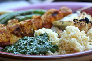 Garden Saag with millet and curried chicken kebabs | by jess.t