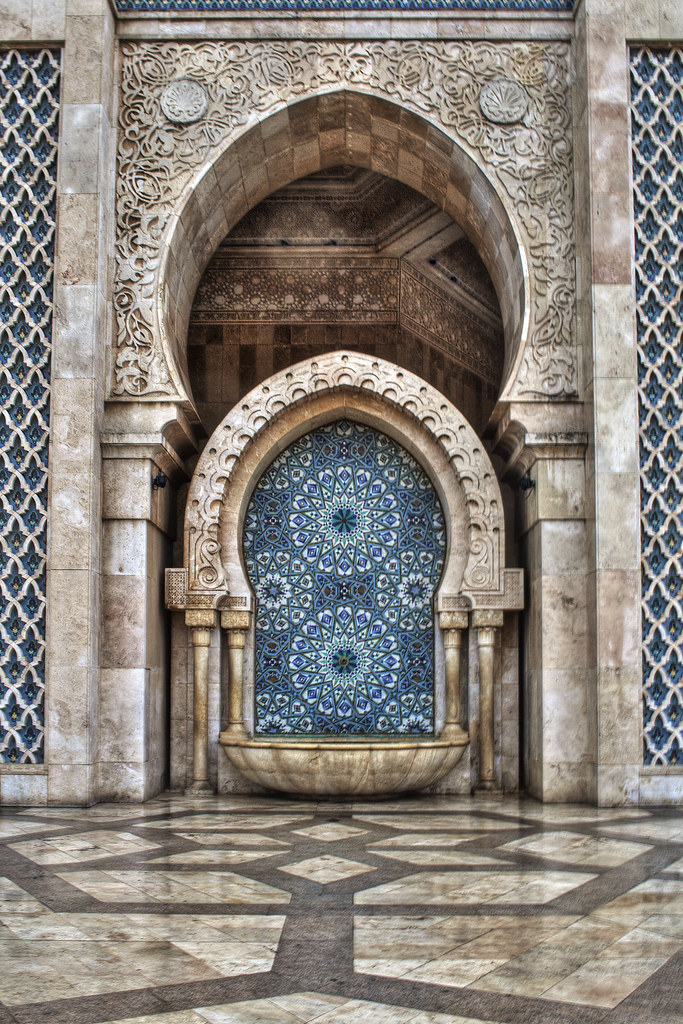 Water Fountain Hassan Ii Mosque In Casablanca In Morocco