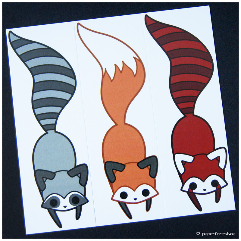 raccoonfoxred panda bookmarks paper forest flickr