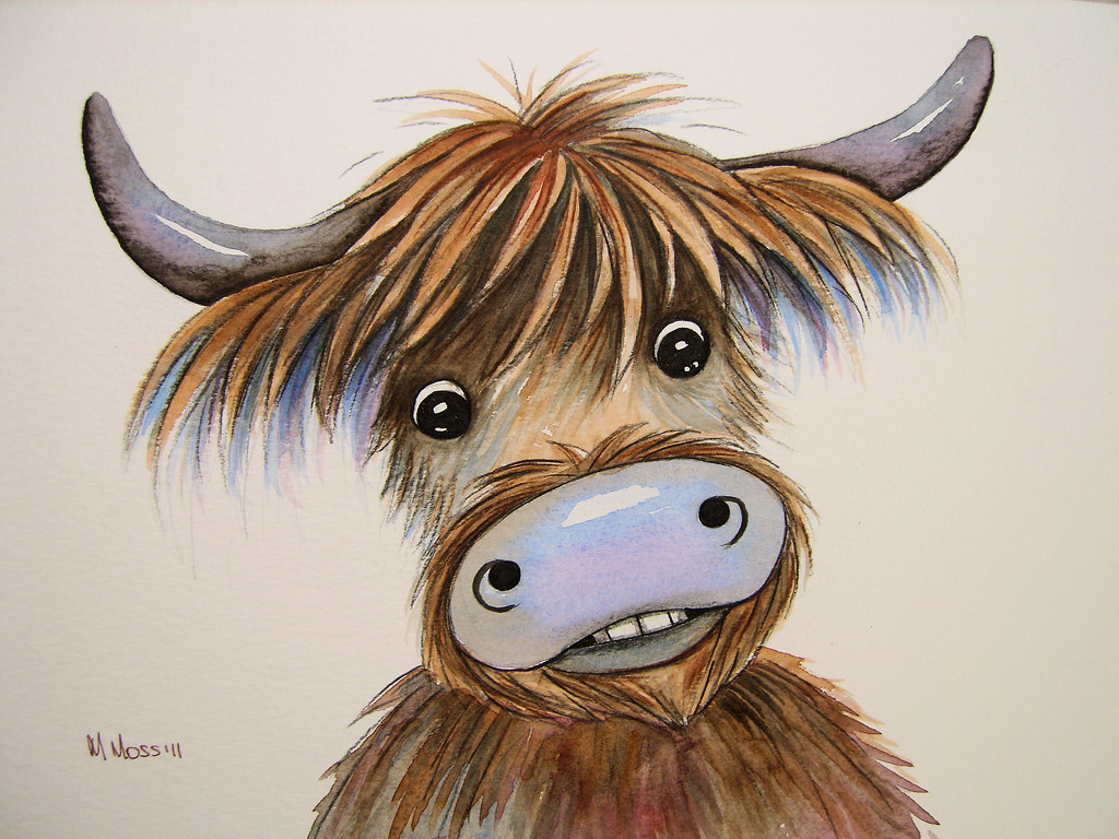 Funny highland cow watercolour cartoon highland cow for Interesting art pictures