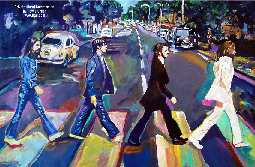 Abbey road pop art mural i painted this pop art mual for for Beatles abbey road wall mural