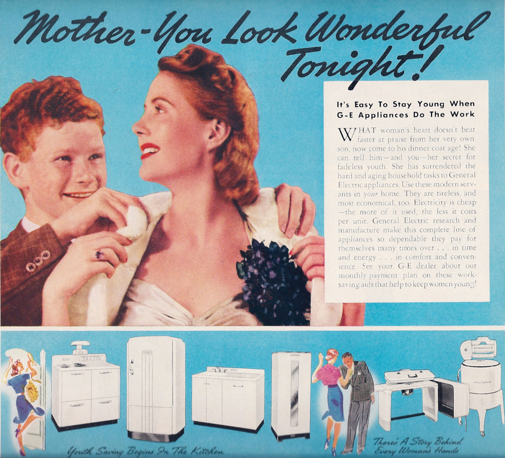 Ad 1930s kitchen GE Appliances 1938 | Retro Moms-Beauty tips… | Flickr
