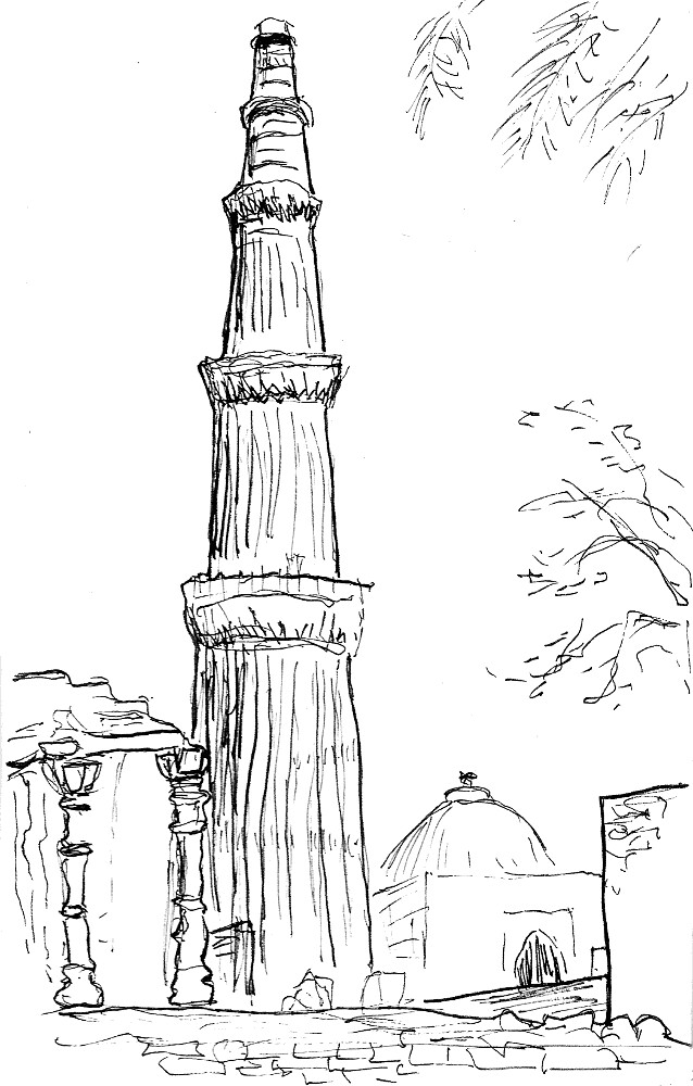 Line Drawing Of Qutub Minar : Qutub minar the is believed to be world