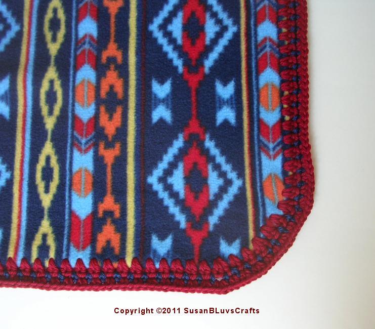 Crochet Edging On Southwest Mexican Print Fleece Blanket Flickr