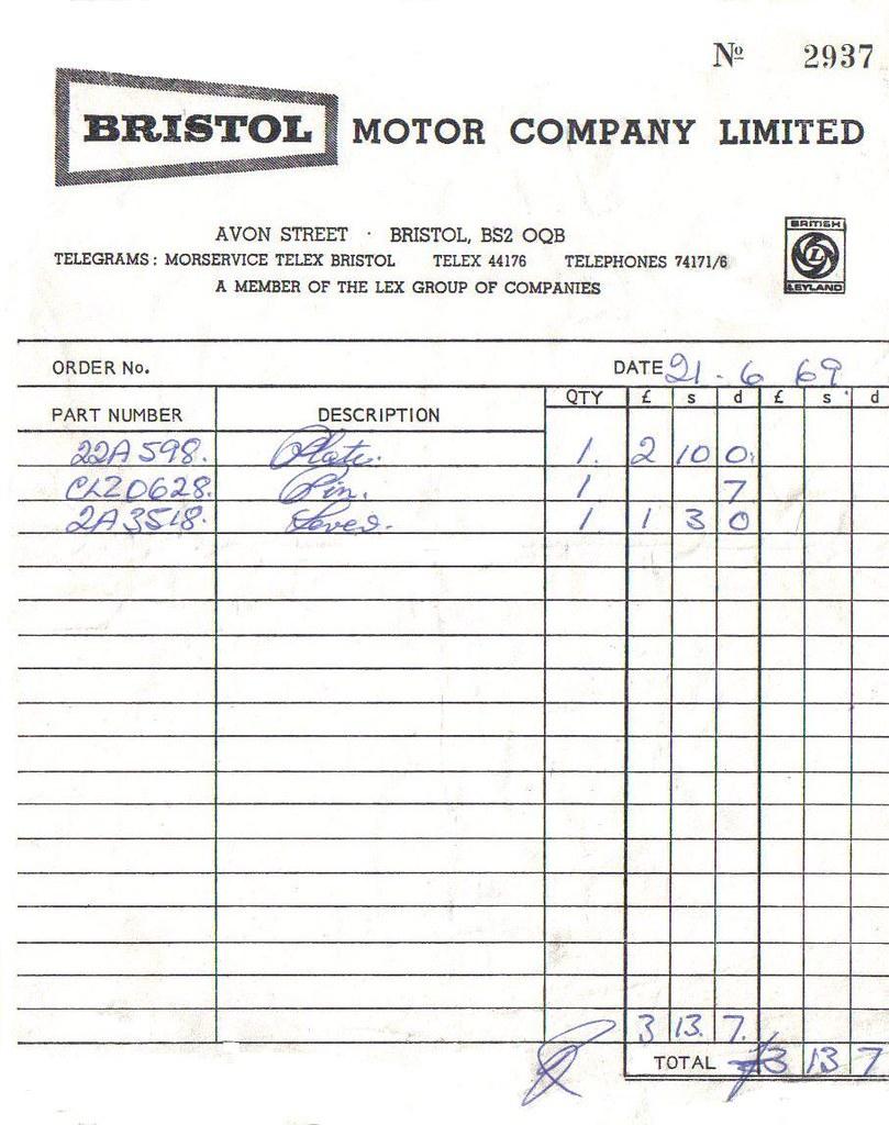 1969 bristol motor company receipt john flickr