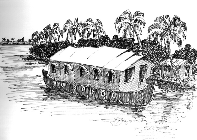 Houseboat | This Is A Pen U0026 Ink Sketch Of A Houseboat On Theu2026 | Flickr