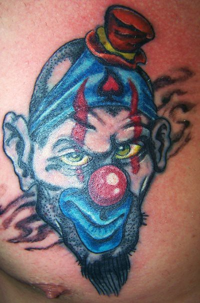 Clown rework rework of a tattoo that had not aged well for Independent tattoo lincoln ne