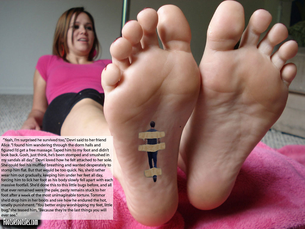 captions Giantess feet