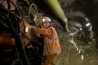 Worker in blasted tunnel | by yarravalleywater