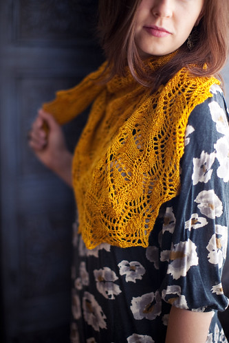 Golden Leaf Shawl | by fickleknitter