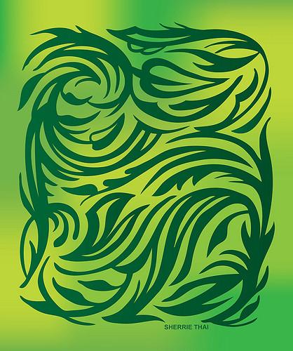 Green Tribal Floral Design | shaireproductions.com | Flickr