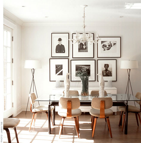 Black white wood modern dining room yum photo from for Black n white dining rooms