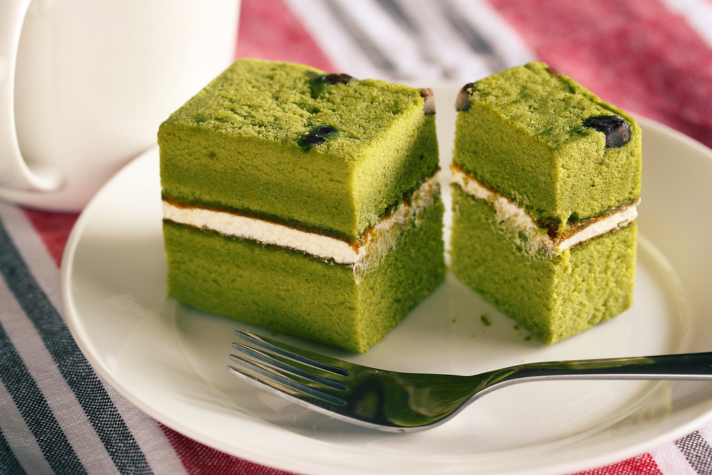 Green Tea Cake With Red Bean Filling