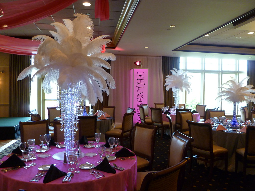 Feather Centerpieces With Chandelier Base For A Bat Mitzva Flickr