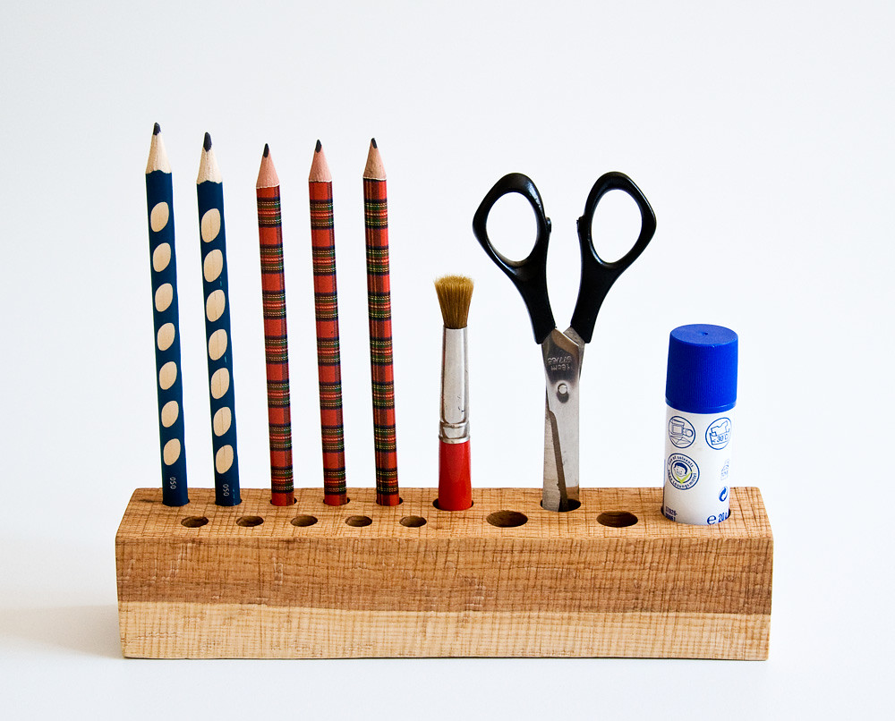 Natural Wood Pen Pencil Holder Desk Organizer JACOB