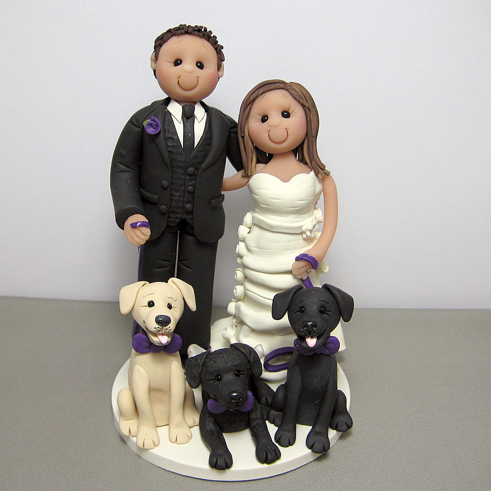 wedding cake toppers with dogs and cats wedding cake topper with their three dogs custom made 26631