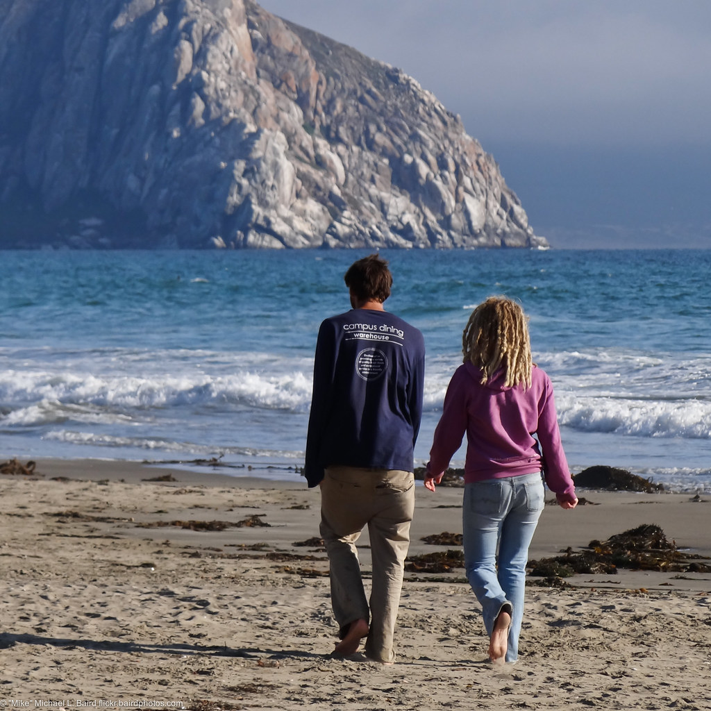 A Young Couple Walks Towards Morro Rock From North Morro S