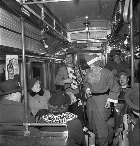 Santa Claus at a tram in Stockholm 1950 | by Stockholm Transport Museum Commons