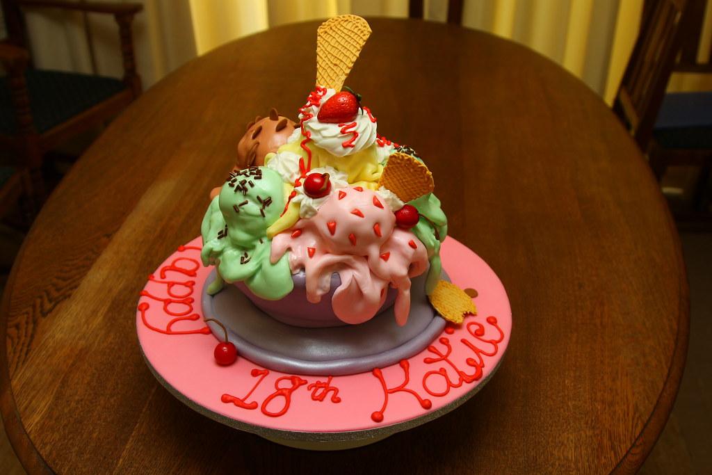 Melting Ice Cream Sundae Cake My Daugher S 18th Birthday