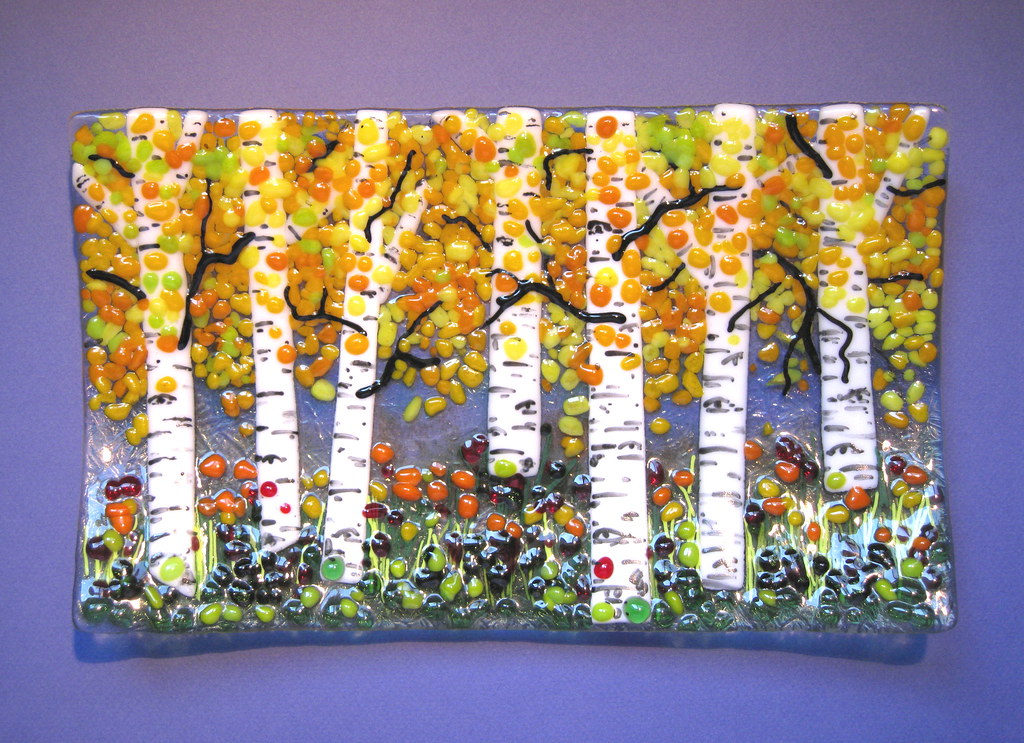 I 2919 Glass Plate Aspen Tree Design Fused Glass Plate