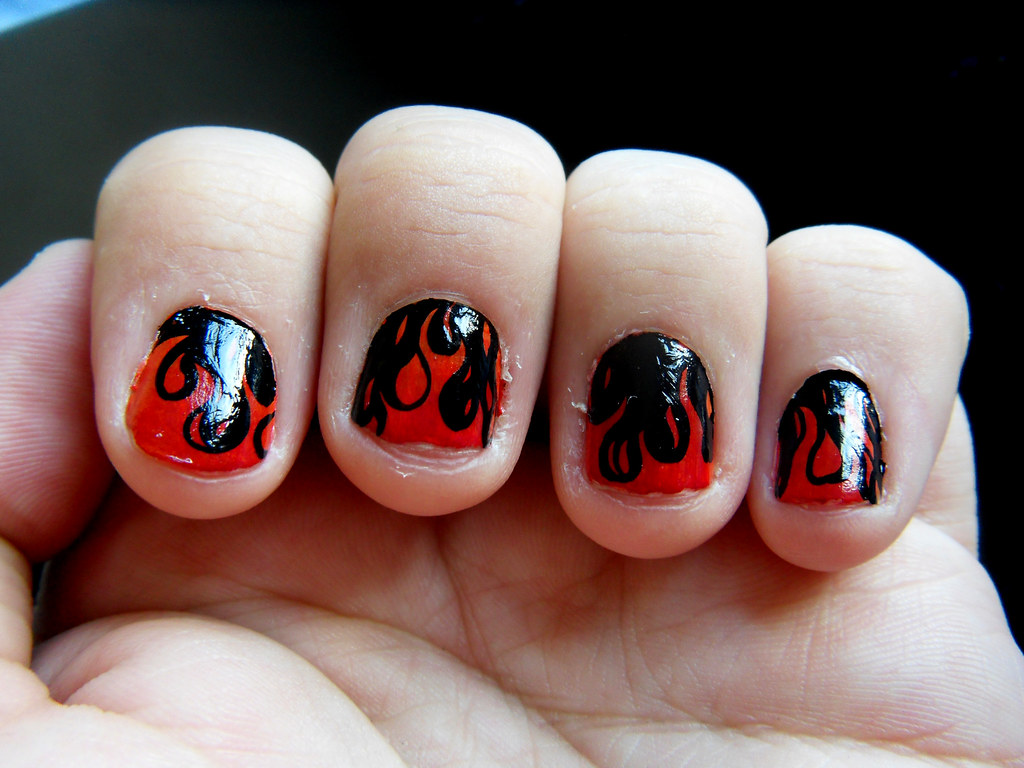 dark flame nails | Dark flamey nail art with a lovely little… | Flickr