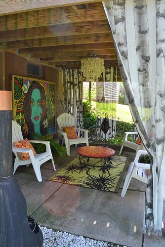 Patio The Capiz Chandelier And The Birch Ikea Panels