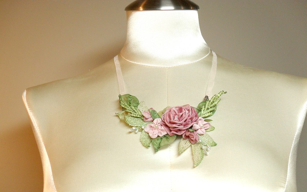 Rose ribbon work necklace lambsandivydesignsspot flickr rose ribbon work necklace by lambsandivydesigns gumiabroncs Image collections