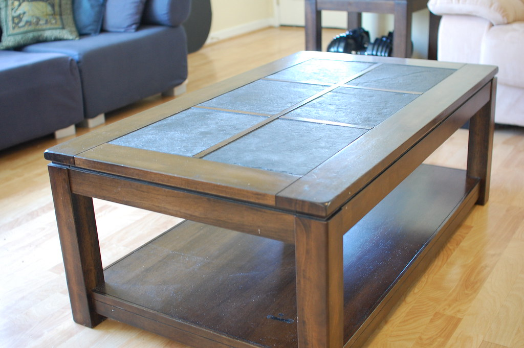 Solid Wood And Slate Tiled Coffee Table For Sale I M