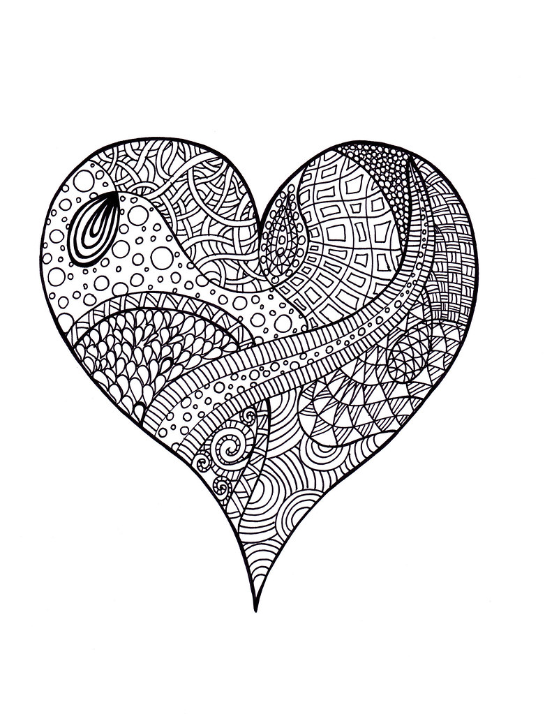 Coloring Pages For Adults Hearts : Heart Zentangle, Colouring Page A zentangle with no filled? Flickr