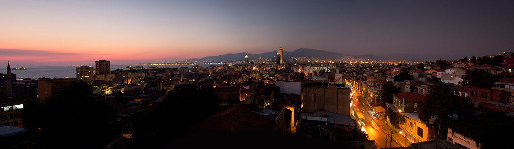 Izmir city night panorama
