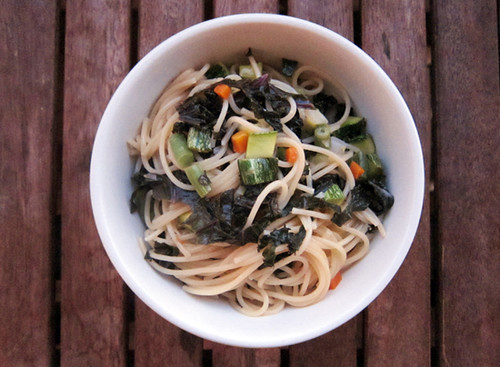 simple & wholesome spaghetti with seasonal vegetables | by you can count on me