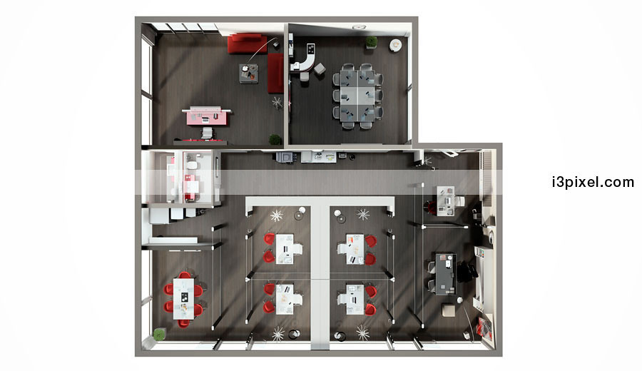 ufficio 3d pianta con visione zenitale piantina 3d di