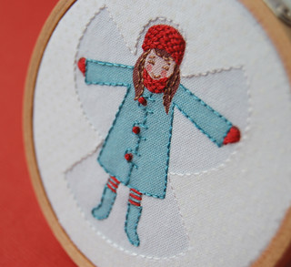 Embroidered Snow Angel in Aqua and Red | by septemberhouse
