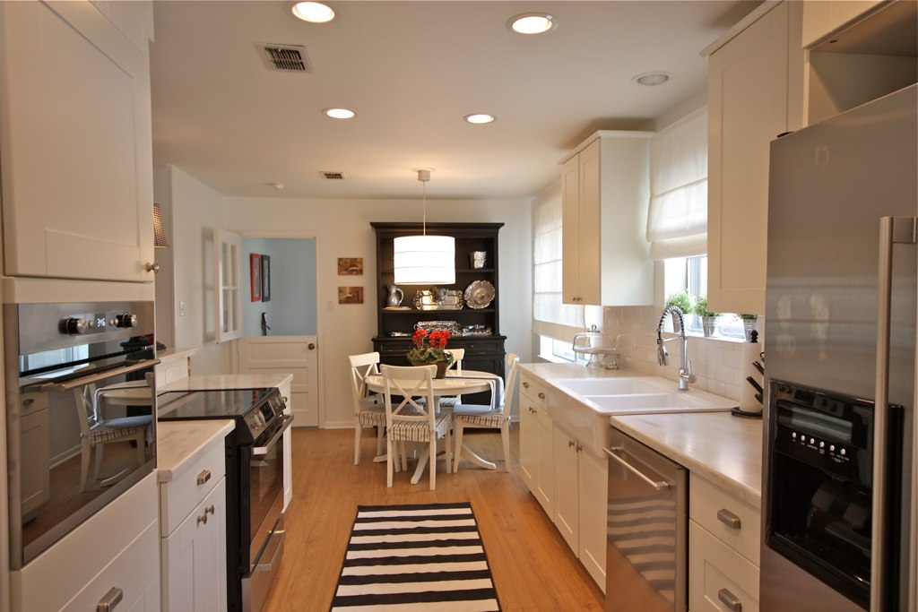 White Galley Kitchen With Smudge Proof Stainless Steel Appliances